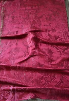 Antique French 19th century woven thick silk damask, burgundy red, unpicked