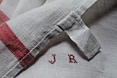 Classic French pure linen red striped torchon, hand sewn JR monogram, cloth hook