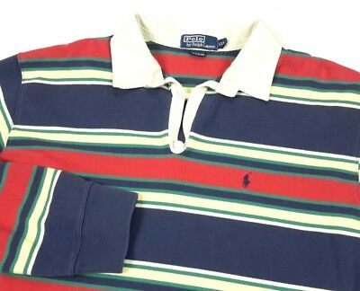 Polo Ralph Lauren Mens Blue Red Yellow Stripe Long Sleeve Rugby Shirt 2xl L