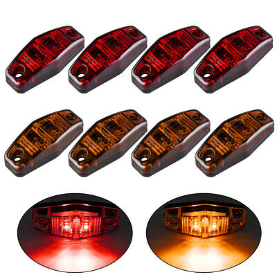 8 pcs LED Light Red/Amber Surface Mount Clearance Side Marker For Truck Trailer