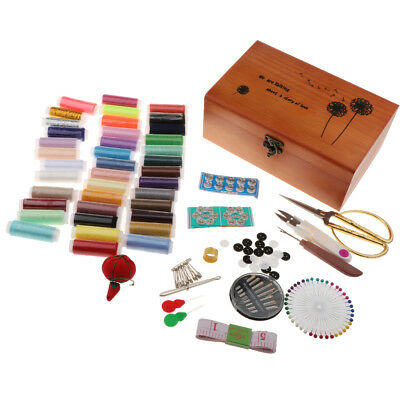 Childs Sewing Kit Wooden Box Case DIY Sewing Accessories Tools for Beginners