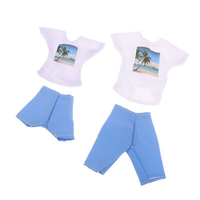Fashion Dating Outfit White Tops & Blue Pants for Barbie & for Ken Accessory