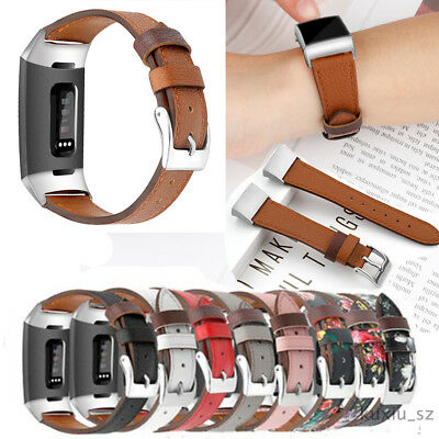 Genuine Leather Replacement Wrist Watch Band Strap Fr Fitbit Charge 3 Smartwatch