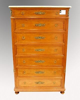 A Lovely Quality French Satinwood Tall Marble Top Chest Of Drawers