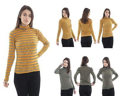 Womens Ladies Stripe  Ribbed Polo Neck Top Jumper Turtle Roll Neck Long Sleeve