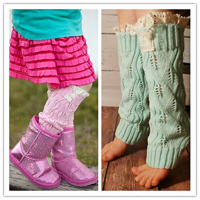1pair Knit Leg Warmer Winter With Lace for Toddlers & Girls, Wear like boot sock