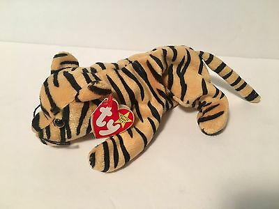 Ty Beanie Babies Plush Beanbag Stripes the Cat Yellow with Black Stripes