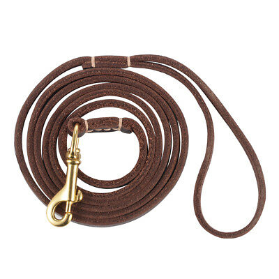 Genuine Leather Dog Leash Pet Lead with Strong Brass Buckle for Walking PS208