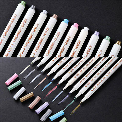 10 Metallic Pens Paint Marker For Paper Gift Card Glass Wood Metal Fabric Rock~