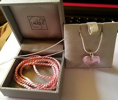 Pendant Lalique Crystal Pink Heart /Silver 925  Chain And Silk Cord Outstanding
