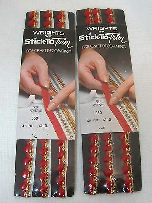 2 Packs MINT 1972 Wrights Stick to Trim RED & GOLD Crafting Trims Christmas Orna