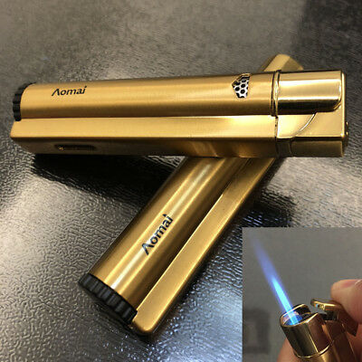 2 x Windproof Jet Torch Refillable Butane Flame Cigar Cigarette Lighter Gold