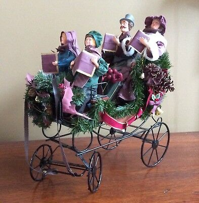 """Victorian Christmas Carolers in 17"""" Carriage Sleigh - New in Box"""