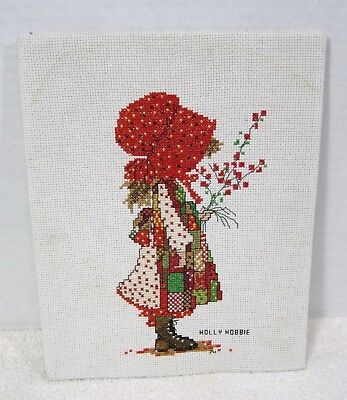 Older Holly Hobbie Counted Cross Stiched Christmas Red & Green Finished T83