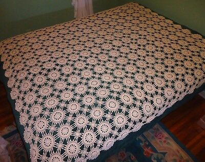 "Vintage Hand Crocheted Table Cloth Tablecloth Or Bed Topper 72"" X 84"" Deep Ecru"