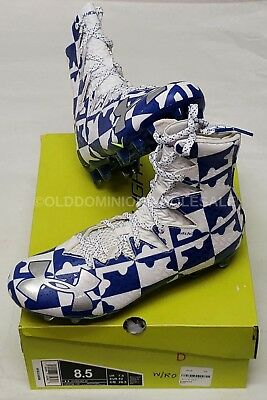 NEW Under Armour Sz: 8.5 Highlight MC Lacrosse / Football Cleats White / Blue