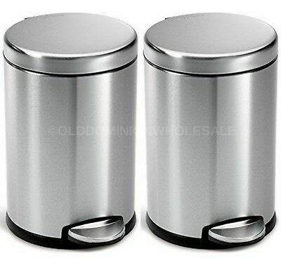 x2 NEW SimpleHuman 1.2 Gallon Brushed Stainless Steel Round Step Trash Can