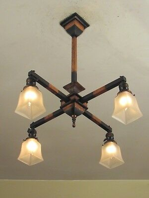 RARE! Antique WAKEFIELD Mission Light Fixture Japanned Copper Flash Finish
