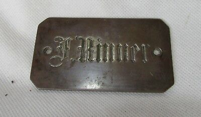 Antique Plaque Of Old Trunk F. Rinner Made In Solid Bronze