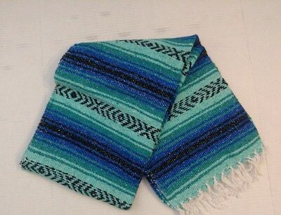 Mexican Falsa Blanket Turquiose and BLUE with black Line Aztec white fringe
