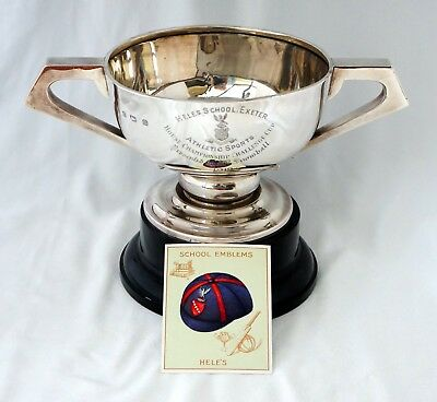 340gm Solid Silver Athletics Trophy. Hele's School House Cup Exeter, Devon 1919.