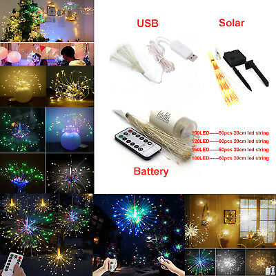 Firework LED String Hanging Starburst Fairy Strip Light Wedding Party Xmas Decor