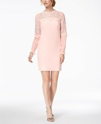 $198 KENSIE Womens PINK LACE -TRIM MOCK-NECK LONG SLEEVE SHEATH DRESS SIZE 6