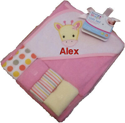 Personalised Embroidered Baby Hooded Towel And Wash Cloths Set any name girl