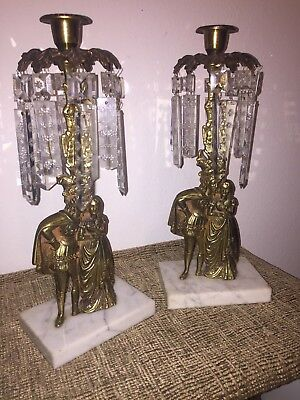 2 Brass on Marble Base Girandoles Crystal Prism Candle Holders Victorian Couple