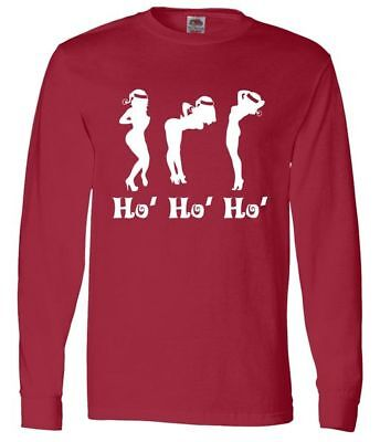 HO HO HO Girls Dancers Stripper Long Sleeve Shirt Funny Christmas Vacation RED