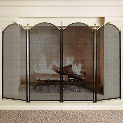 Large Gold Fireplace Screen 4 Panel Black Metal Fire Place Standing Gate