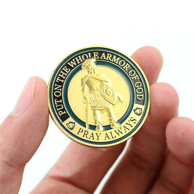 Gold Plated Put On The Whole Armor Of God Commemorative Challenge Coin SouvenirE