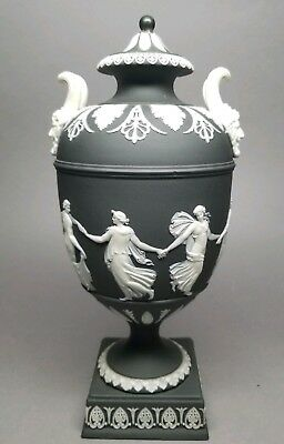 "ANTIQUE Wedgwood Black Basalt Dip Jasper Ware Dancing Hours 10"" Urn w/ Lid"