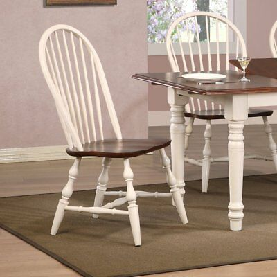 Sunset Trading Windsor Spindleback Dining Chair - Antique White - Set of 2,