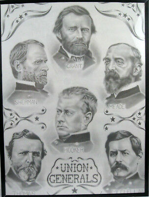 Civil War Union Generals  Andy Amato Print  Large 18X24 Framed Rare