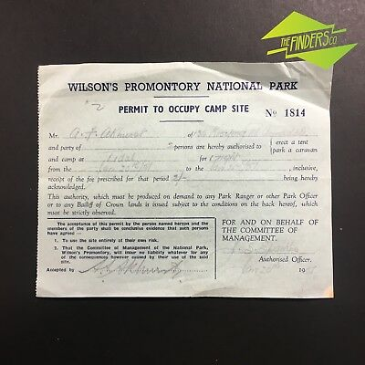 Interesting Vintage 1957 Wilson's Promontory National Park Camping Permit Vic