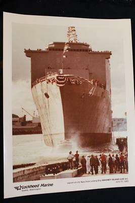 Military Ship Photo Uss Whidbey Island (Lsd-41) Launching 9' X 11' Color (P781)