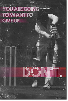 "Cricket Motivational Poster 04 ""DON'T give up."" Art Print Motivation Quote Gift"