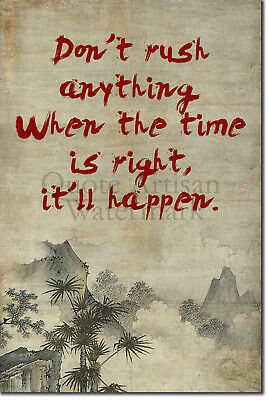 "Zen Motivation 02 ""Don't rush.."" Poster Art Print Meditation Motivational Quote"
