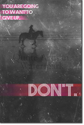 "Horse Riding Motivational Poster 02 ""DON'T give up."" Art Print Motivation Quote"