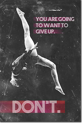 "Gymnastics Motivational Poster 03 ""DON'T give up"" Art Print Motivation Quote"