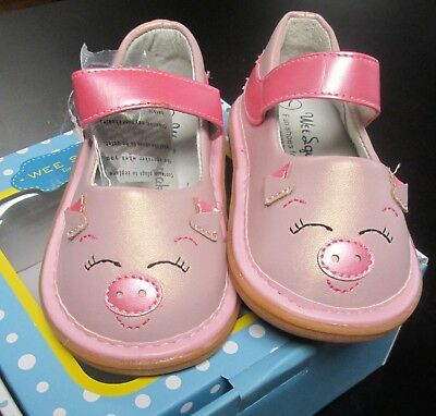 NEW WEE SQUEAK GIRLS PINK SPARKLY LEATHER KITTY SQUEAKY SHOES SZ 7