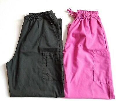LOT 2 Women's SCRUB Pants Size L Pink Black Elastic Samantha Mara Fashion Seal