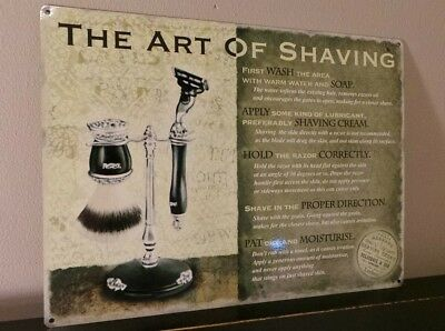 The Art Of Shaving Metal Wall Sign - Perfect For The Well Groomed Gent