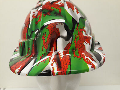 safety hard hat / helmet - welsh flag design- fully BS EN397 compliant