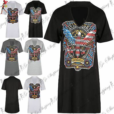 Womens Choker Neck Longline Rock America Skull Rose Baggy Ladies T Shirt Dress