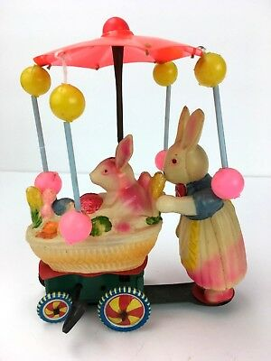 1940's-50's Celluloid & Tin Easter Toy Bunnies Spinning Umbrella Wind Up Toy