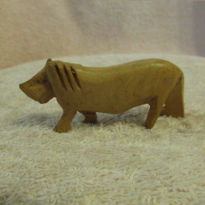 Vintage Hand Carved Kenya Made Wood WARTHOG/LION Figurine