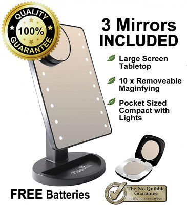 Peppermint Cafe - Light Up Mirror | Black Makeup with Lights Set | Large...