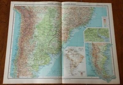 1923 Map Of South America S Section Protestant Mission Stations John Bartholomew
